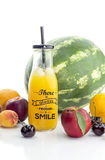 A variety of fruits and juice Stock Photo