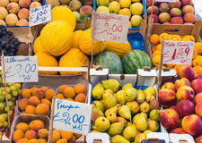 Variety of fruits seen at a market Royalty Free Stock Photography