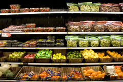Variety of fruits on store shelves Royalty Free Stock Photo