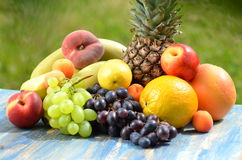 Variety of fruits on table in the garden Stock Photography