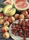 Variety of fruits on a table in the garden royalty free stock images