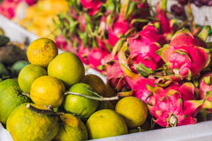 Variety of fruits on the Vietnamese market. Asian cuisine concept.  Royalty Free Stock Photos