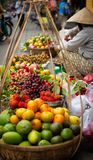 Variety of Fruits at Vietnamese Market. Dragon fruits, apples, grapes and citrus Stock Photography