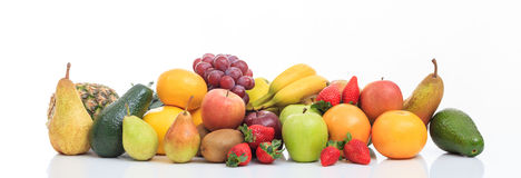 Variety of fruits on white background Stock Photography