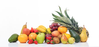 Variety of fruits on white background Stock Image