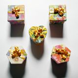 Variety of Gift Boxes, Christmas Gift Boxes Stock Photo