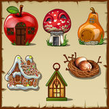Variety gingerbread houses from a fairy tale Stock Photos