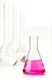 Variety of glass flasks with reagents Stock Images