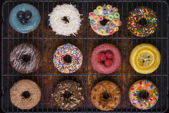 A variety of gourmet donuts Stock Images