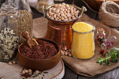 Variety of grains and beans Stock Image