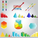 Variety of graphs. A vector illustration of a variety of arrows, graphs, diagrams all in different colors Royalty Free Stock Images