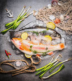 Variety of  Great raw trout fish in glass dish with ice cubes on concrete background with fishing net and flavoring, top view Royalty Free Stock Image