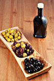 Variety of green, black and mixed marinated olives Royalty Free Stock Photography