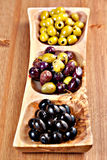 Variety of green, black and mixed marinated olives Royalty Free Stock Images