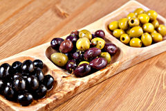 Variety of green, black and mixed marinated olives Royalty Free Stock Image