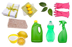 Variety of Green Cleaning Supplies Stock Photography