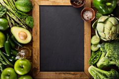 Variety of green vegetables and fruits royalty free stock photos