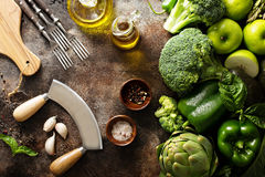 Variety of green vegetables and fruits stock photo