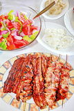 Variety Grilled Meat And Salads Stock Image