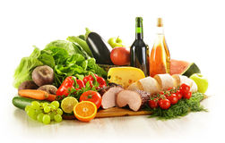 Variety of grocery products  on white Stock Photography