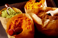 Variety of ground spices in paper bags Royalty Free Stock Image