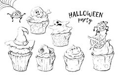 Variety of Halloween cupcakes isolated Royalty Free Stock Images