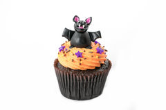 Variety of Halloween cupcakes on white Stock Image