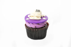 Variety of Halloween cupcakes on white Stock Images