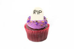 Variety of Halloween cupcakes on white Royalty Free Stock Photography
