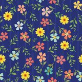 Variety of hand drawn multicolor flowers and leaves. Vector seamless pattern on blue background with subtle stripes stock images