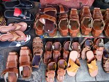 Variety of  handcrafted footwear Stock Photography