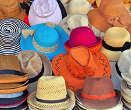 Variety of the hats. Variety of colorful hats background Royalty Free Stock Image