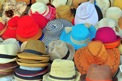 Variety of hats. In the market stock image