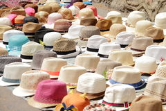 Variety of hats. On the street market Royalty Free Stock Image