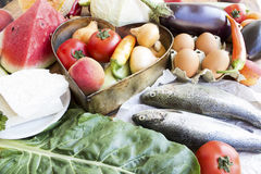 Variety of Healthy Food with Trouts. Royalty Free Stock Images
