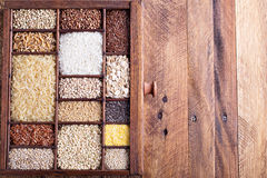 Variety of healthy grains and seeds Royalty Free Stock Images