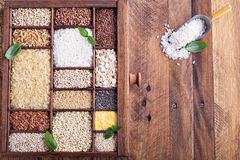 Variety of healthy grains and seeds Stock Photos