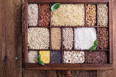 Variety of healthy grains and seeds Stock Image