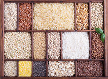 Variety of healthy grains and seeds Stock Photo