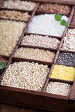 Variety of healthy grains and seeds Royalty Free Stock Photography