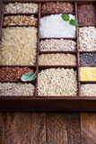 Variety of healthy grains and seeds Royalty Free Stock Photos