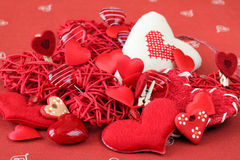 Variety of heart decorations Stock Photo