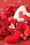 Variety of heart decorations Stock Photos