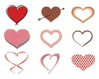 Variety of Hearts. Collection of Heart Shapes stock illustration