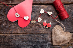 Variety of hearts on wooden rustic background Royalty Free Stock Photography