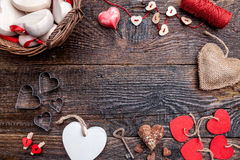 Variety of hearts on wooden rustic background Stock Photography