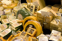 Variety of high quality cheese in supermarket stock photo