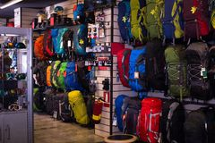 Hiking backpacks in sports shop Royalty Free Stock Photo