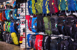 Hiking backpacks in sports shop stock photo