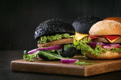 Variety of homemade burgers Royalty Free Stock Images